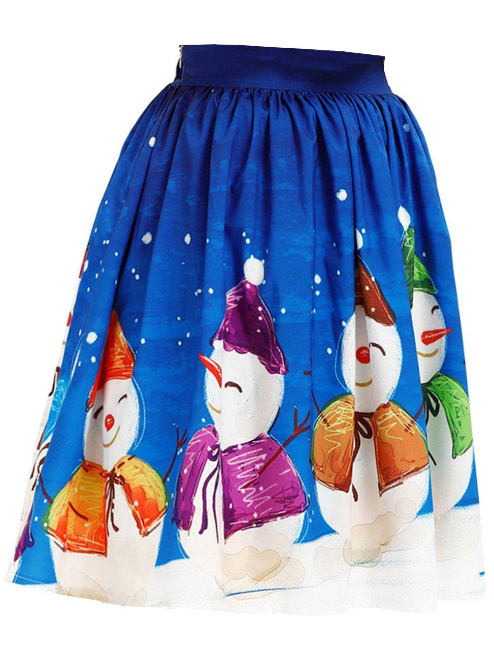 Discount Womens Christmas Floral Midi Skirts High Waisted A-Line Cocktail Party Prom Skirt