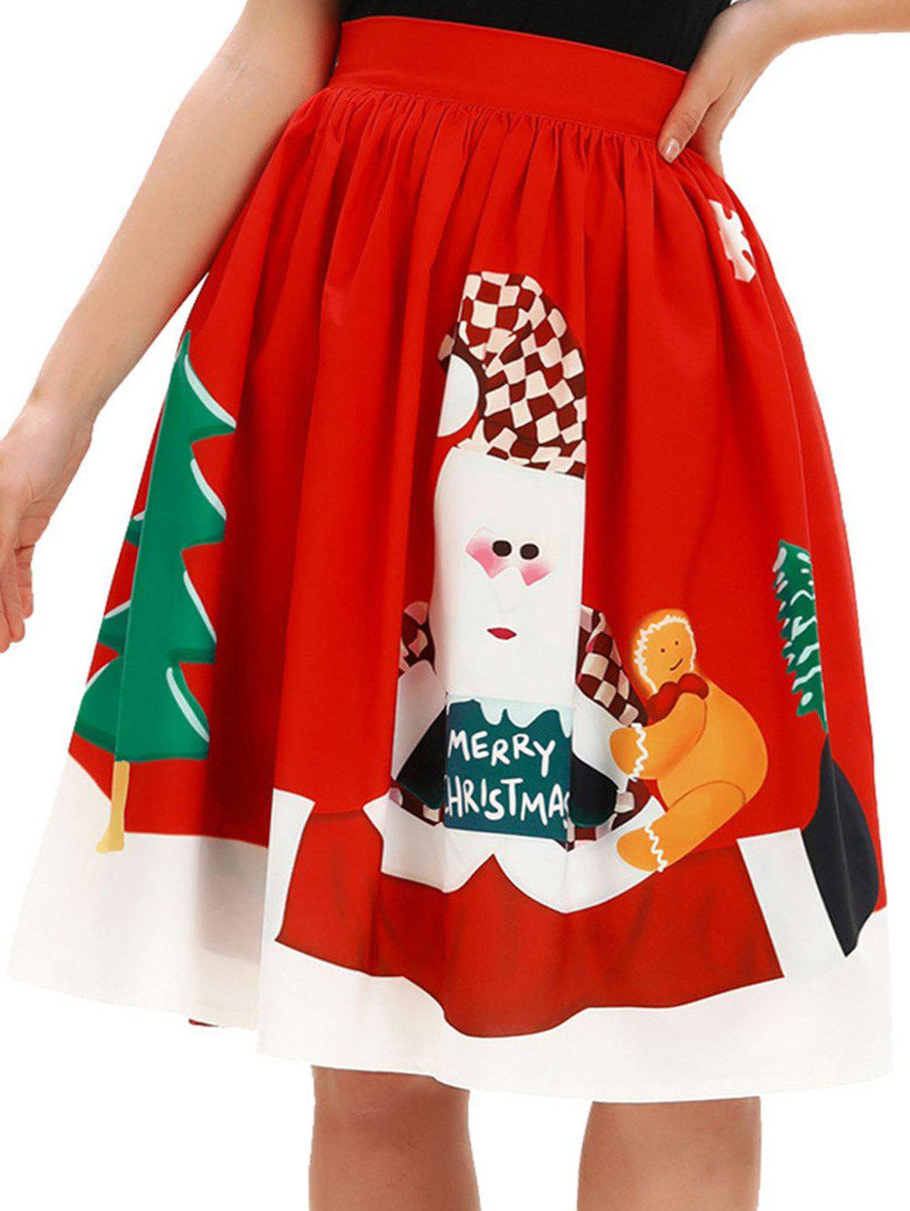 New Women Christmas Skirt Party Christmas Printed Pleated Flared Midi Skirts