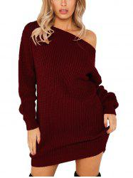 Women's Dew Shoulder Long Sleeve Bodycon Dress -