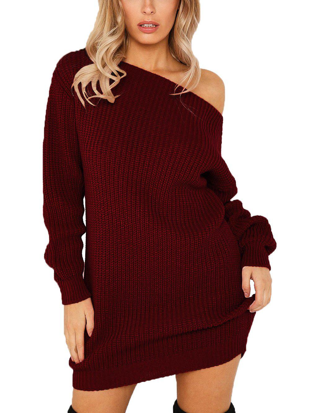 Fashion Women's Dew Shoulder Long Sleeve Bodycon Dress
