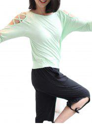 Sleeve Hollow Loose Bat Sleeve Yoga Clothes -