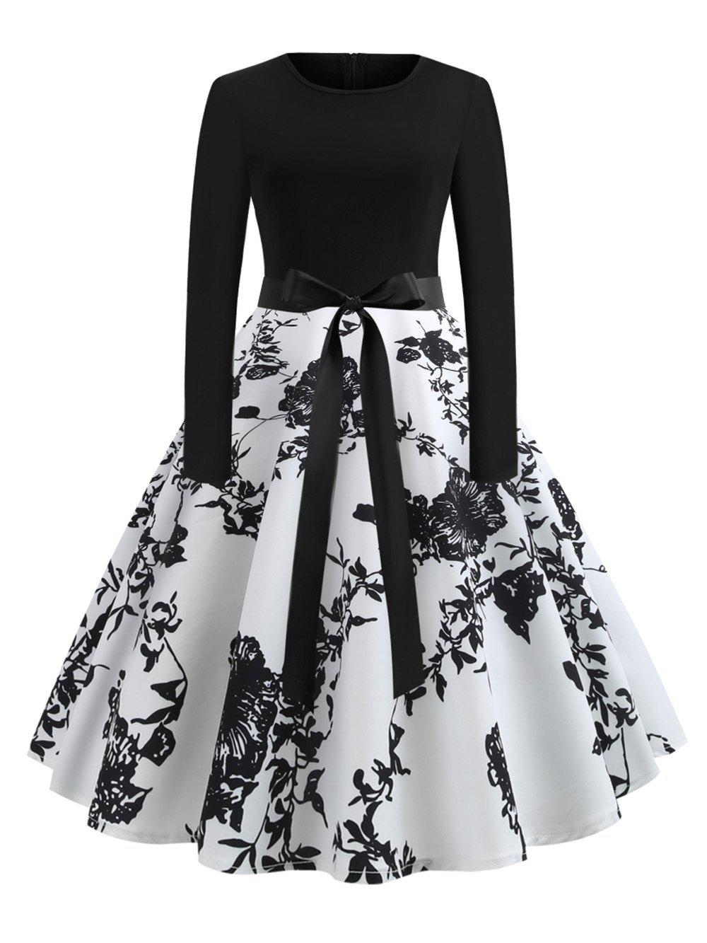 Best Women's Sexy Round Neck Vintage Style Pinup Swing Fashion Printing Evening Party Rockabilly Retro Dress