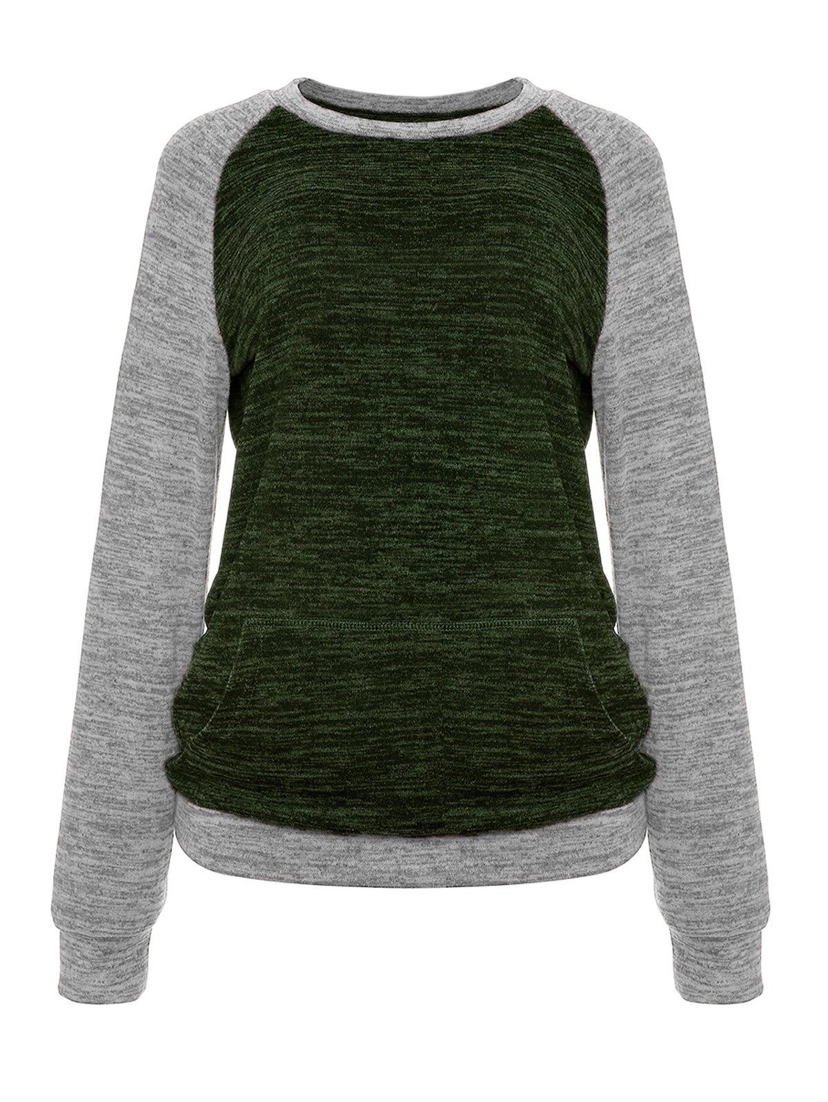 Shops Constrasting Color Patch Pocket Sweater Knitwear T-Shirts