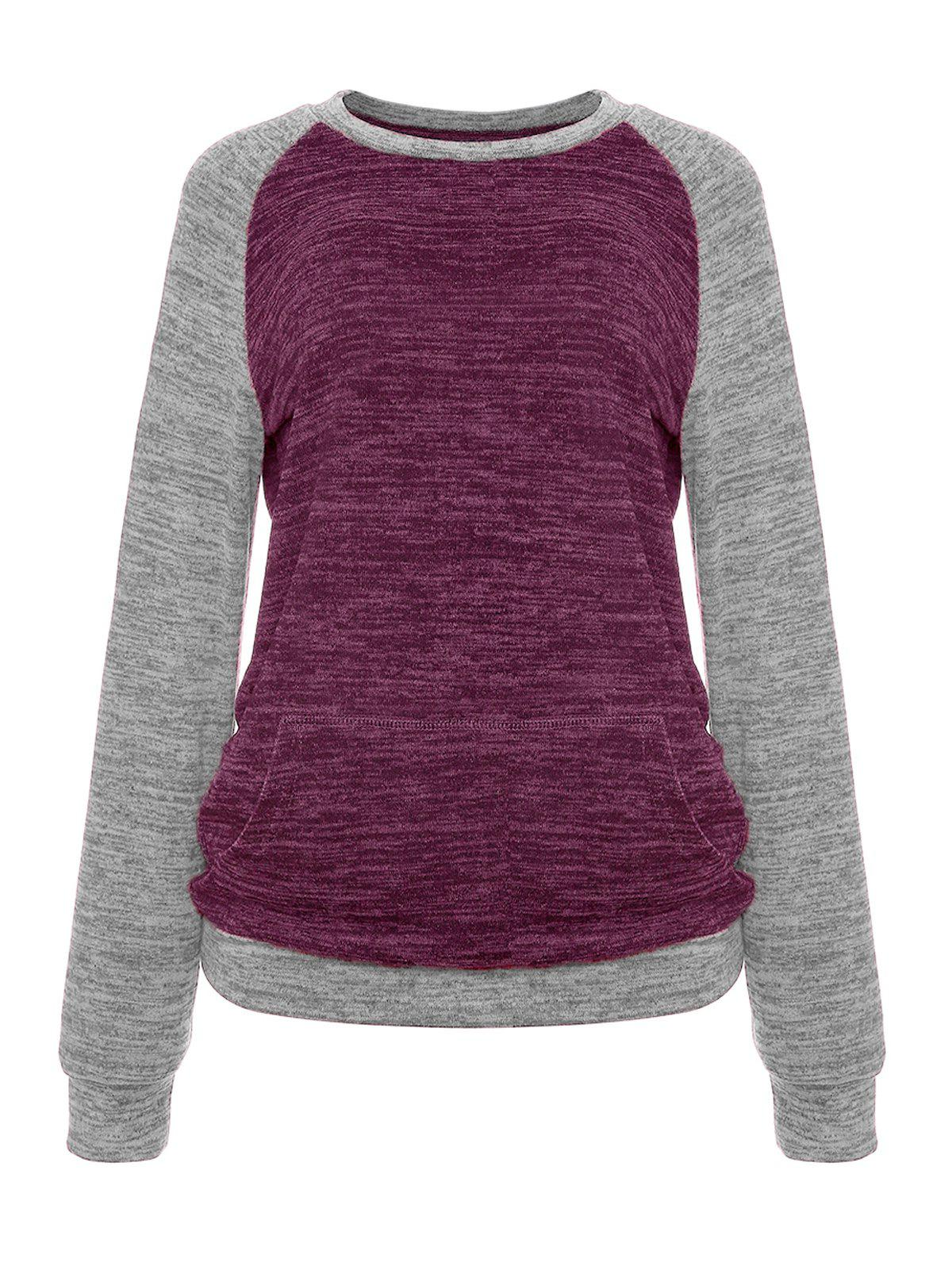 Hot Constrasting Color Patch Pocket Sweater Knitwear T-Shirts