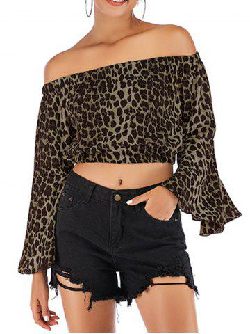 Womens Fashion Off Shoulder Tops Sexy Leopard Print Crop Tops