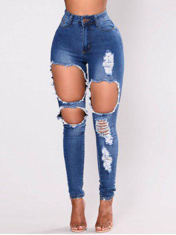 Womens Casual High Waisted Skinny Destroyed Ripped Hole Jeans