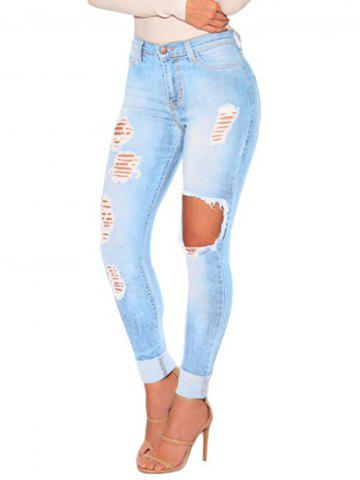 Womens Juniors Distressed Ripped  Skinny Denim Ankle Length Jeans