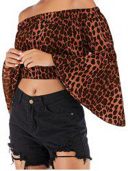 Womens Fashion Off Shoulder Tops Sexy Leopard Print Crop Tops -