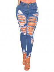 Womens Casual Destroyed Ripped Distressed Skinny Denim Jeans -