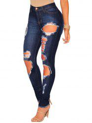 Womens High Waisted Skinny Jeans Destroyed Ripped Hole Denim Pants -