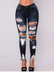 Women High Waisted Skinny Destroyed Ripped Hole Denim Pants Long Stretch Pencil Jeans -