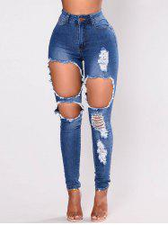Womens Casual High Waisted Skinny Destroyed Ripped Hole Jeans -