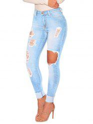 Womens Juniors Distressed Ripped  Skinny Denim Ankle Length Jeans -