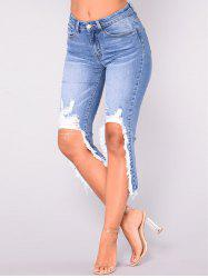 Womens Fashion Skinny Denim Destroyed Ripped Hole Jeans -