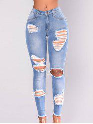 Women Distressed Ripped Stretch Denim  Skinny  Denim Jeans -