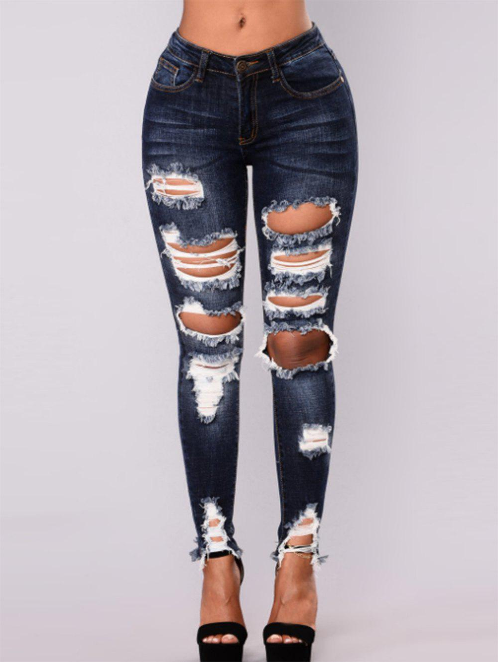 Unique Women High Waisted Skinny Destroyed Ripped Hole Denim Pants Long Stretch Pencil Jeans
