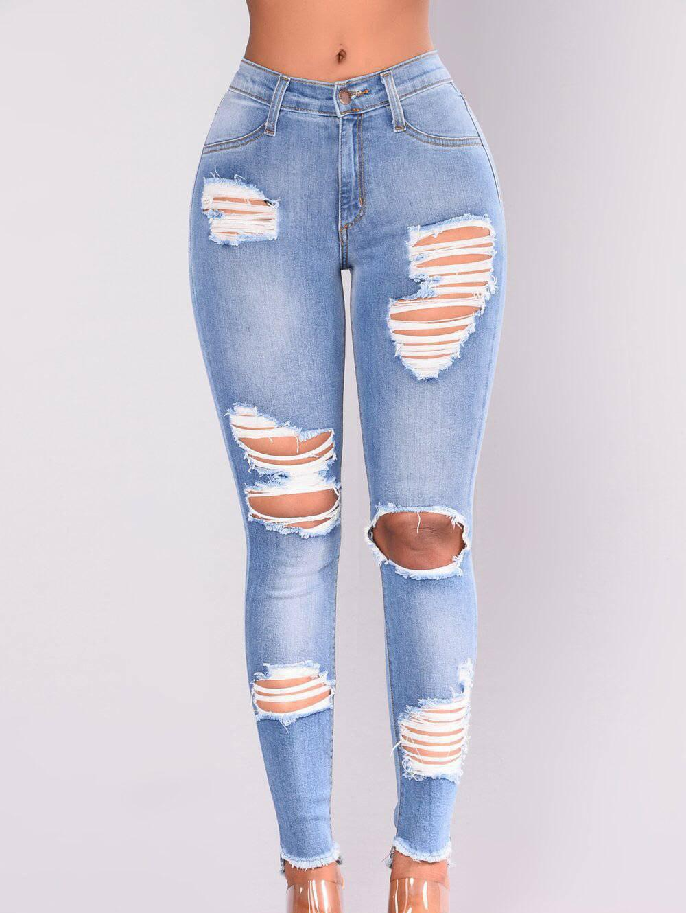 Outfits Women Distressed Ripped Stretch Denim  Skinny  Denim Jeans