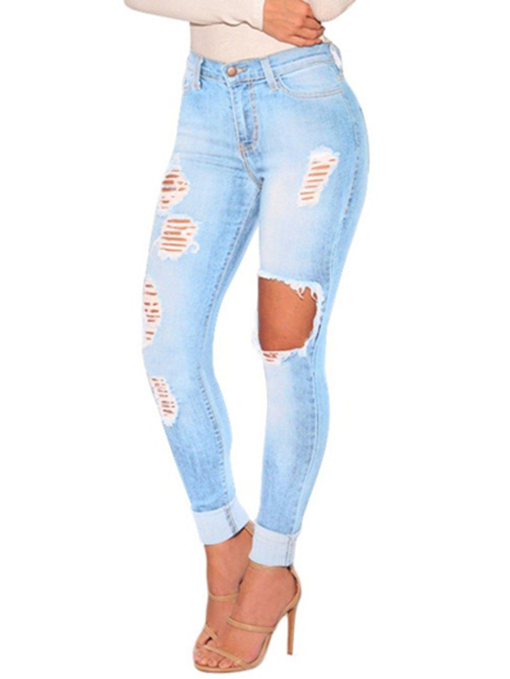 Affordable Womens Juniors Distressed Ripped  Skinny Denim Ankle Length Jeans