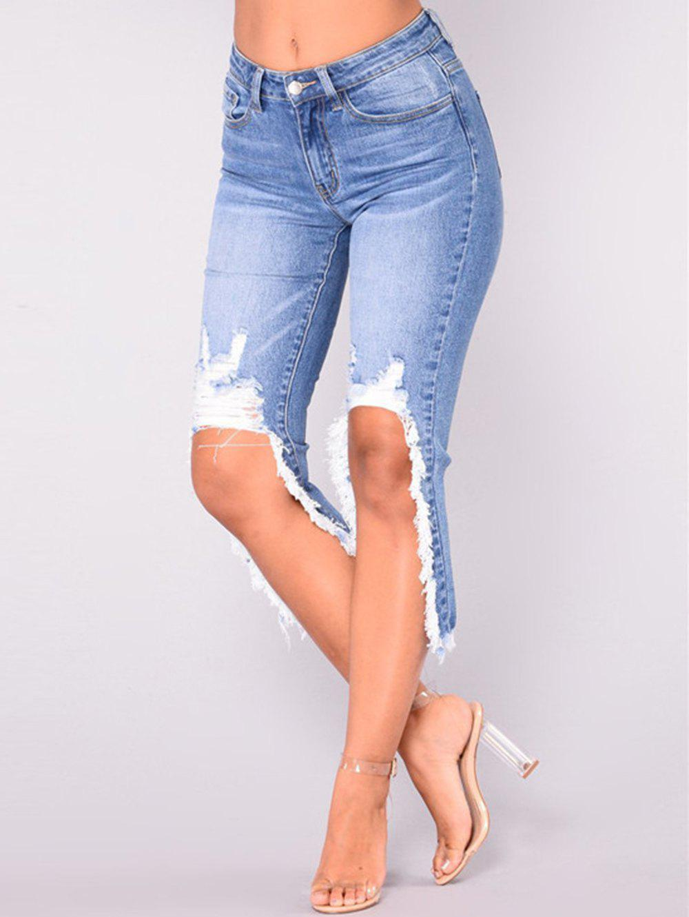 Chic Womens Fashion Skinny Denim Destroyed Ripped Hole Jeans