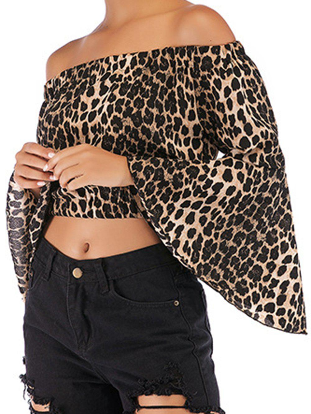 Fashion Womens Fashion Off Shoulder Tops Sexy Leopard Print Crop Tops