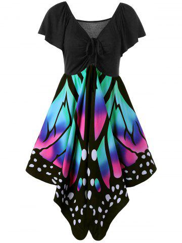 Women's V Neck Short Sleeve  Empire Waist Lace Up Butterfly Print Dress Plus Size