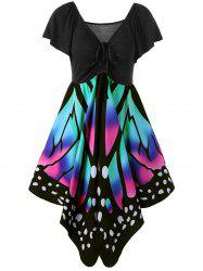 Women's V Neck Short Sleeve  Empire Waist Lace Up Butterfly Print Dress Plus Size -