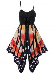 Women's Butterfly Shape Print   Summer Strapy Lace Up Back Skater Dress  A-Line dress -