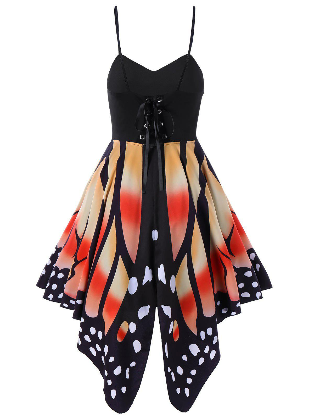 Trendy Women's Butterfly Shape Print   Summer Strapy Lace Up Back Skater Dress  A-Line dress