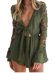 Womens Sexy Knotted Front Lace Long Sleeve Frill Short Romper Jumpsuit -