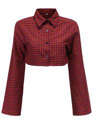Womens Plaid Short Shirts V Neck Long Sleeve Crop Tops -