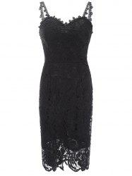 Women V-Neck Spaghetti Straps Lace Knee-Length Backless Dresses -