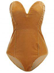 Womens Plain Golden Velvet Sexy  V Cut Backless Clothes Bodysuit -