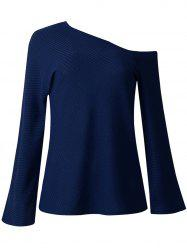 Womens Fall  Winter Fashion Long-sleeved Off Shoulder Top Knitted Sweaters -