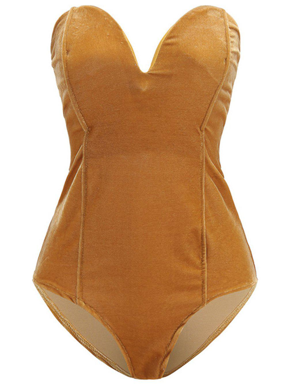 Affordable Womens Plain Golden Velvet Sexy  V Cut Backless Clothes Bodysuit