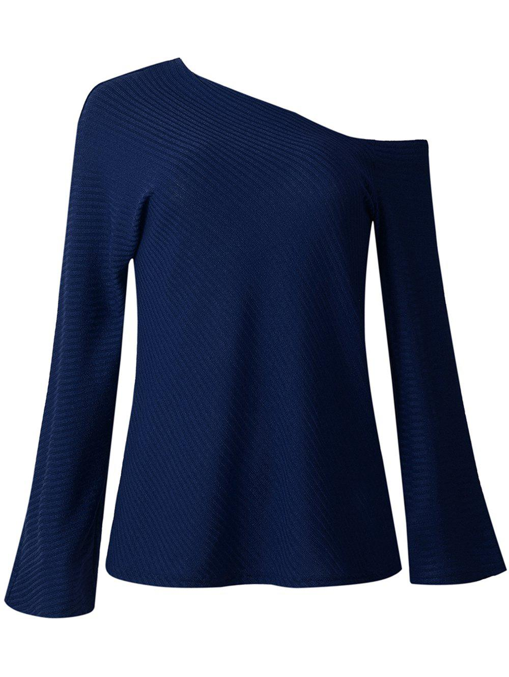 Fancy Womens Fall  Winter Fashion Long-sleeved Off Shoulder Top Knitted Sweaters