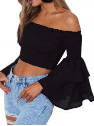 Women Sexy Cold Shoulder Flare Sleeve Backless Slash Neck Beach Party Crop Top -
