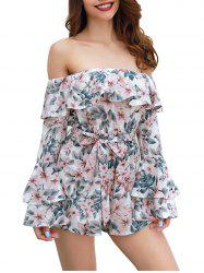 Womens  Floral Off Shoulder 3/4 Sleeves Romper Jumpsuit -
