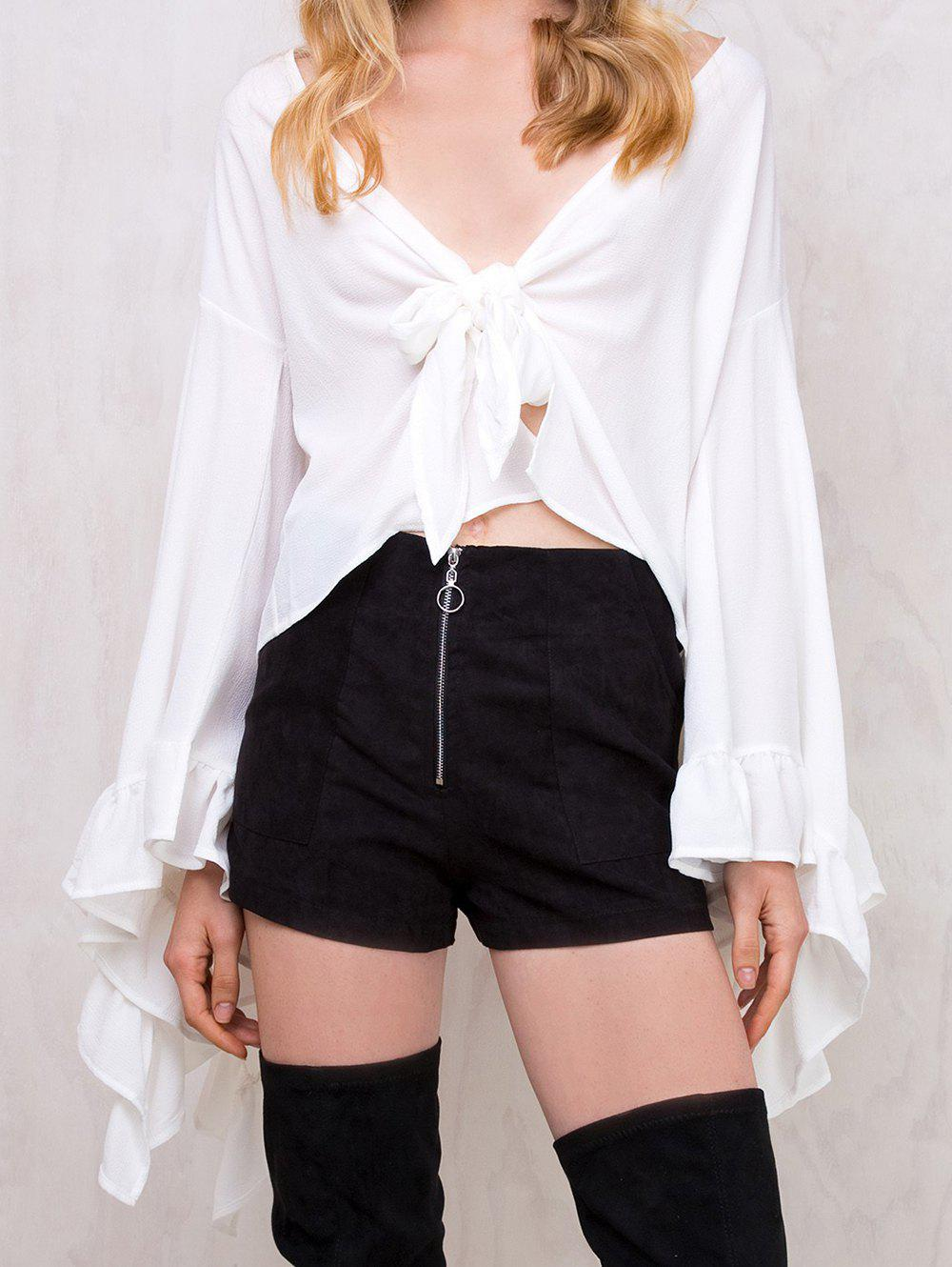 Latest Women Casual V-Neck Blouse Chiffon Loose Long Sleeve Tops Bandage Shirt
