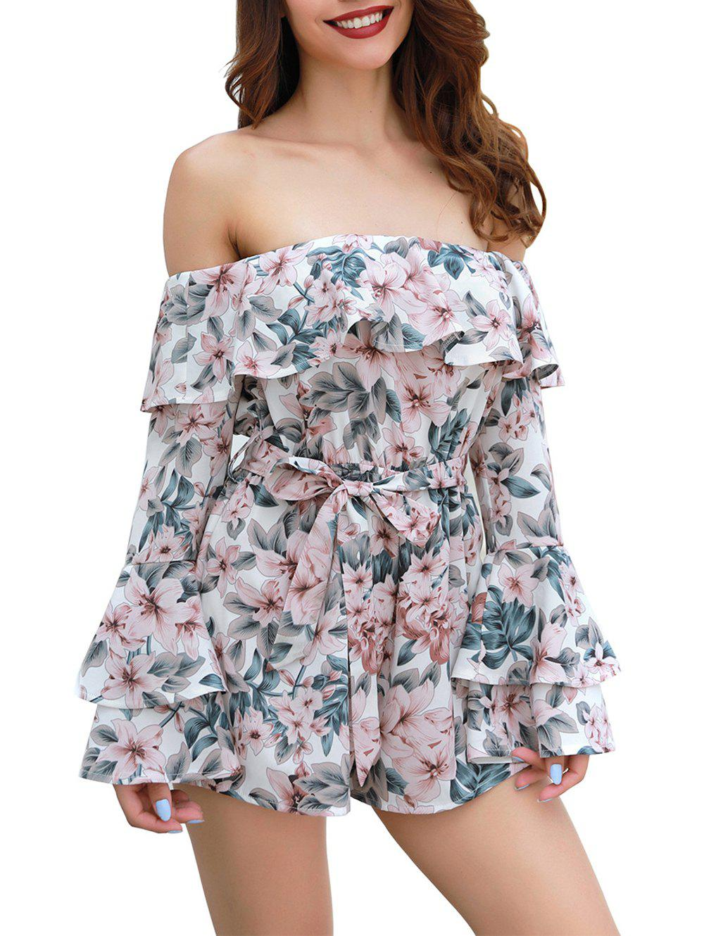 Fashion Womens  Floral Off Shoulder 3/4 Sleeves Romper Jumpsuit