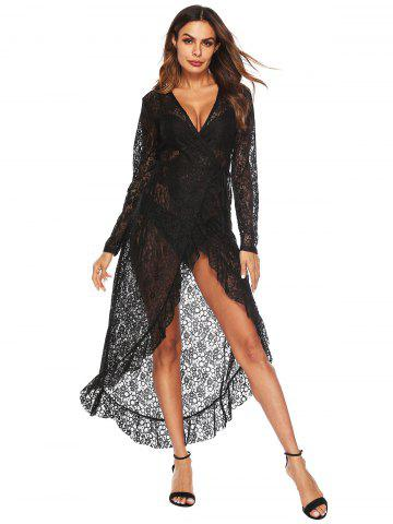 Lace Lucency Irregular Flounces Dress