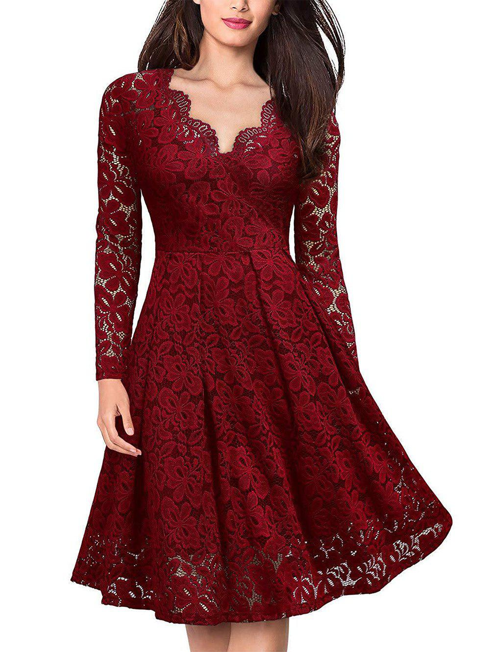 Outfit Lace V Neck Long Sleeves Swing Dress
