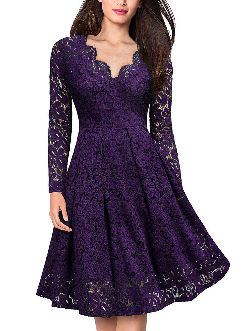 Discount Lace V Neck Long Sleeves Swing Dress
