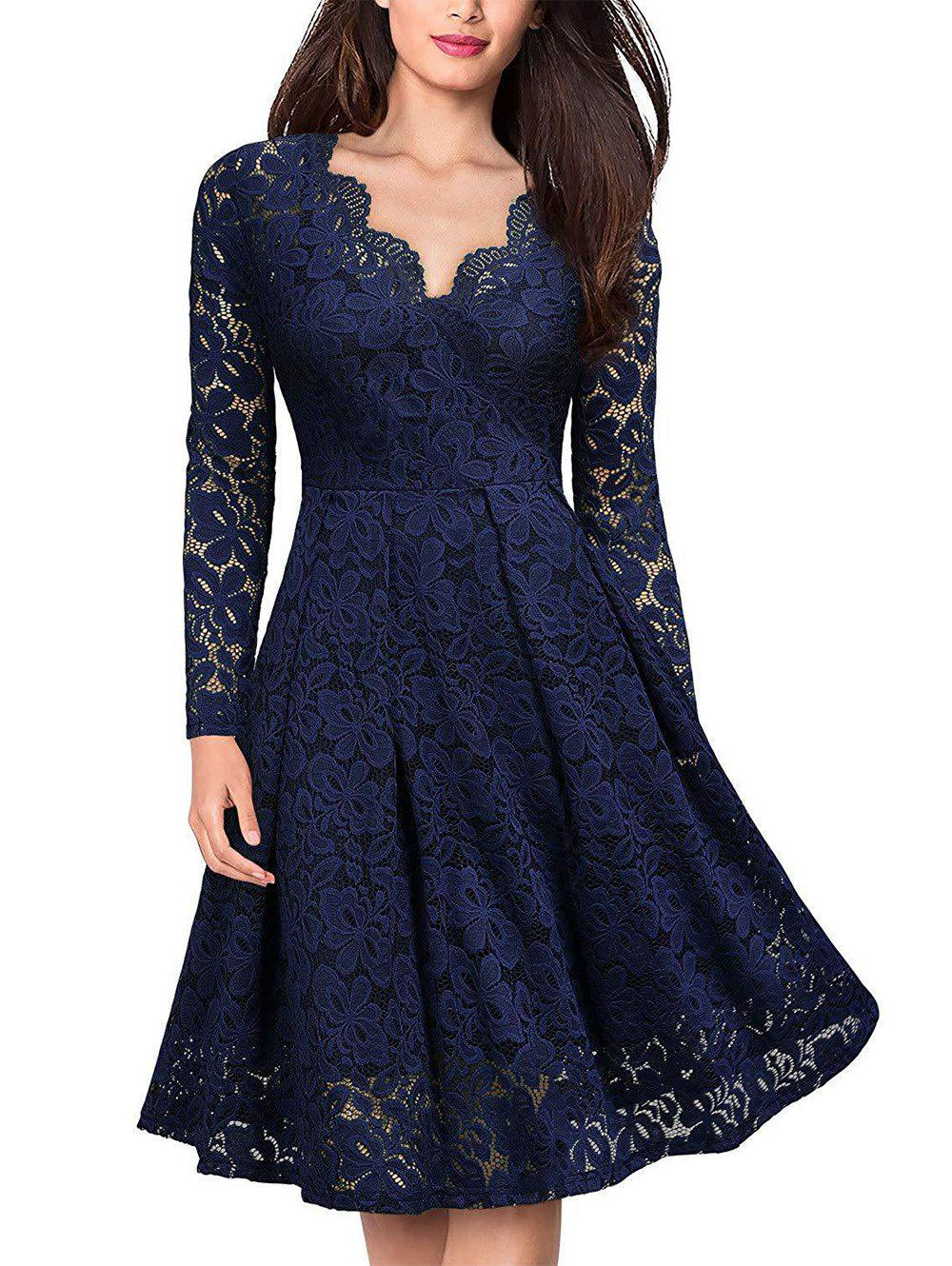 Fancy Lace V Neck Long Sleeves Swing Dress