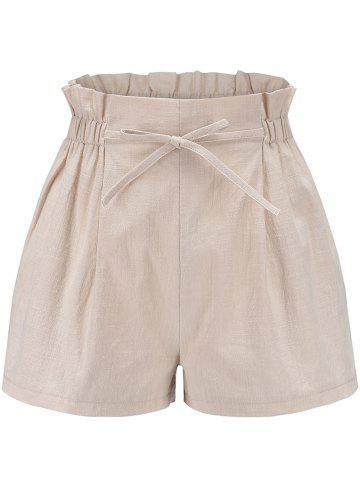 Womens Elastic Waist Casual Comfy Cotton Linen Beach Shorts with Drawstring