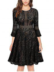 Lace Half Sleeve Big Swing A-Line Dress -