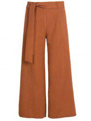 Womens Belted High Waist Casual Loose Long Pants with Pocket -