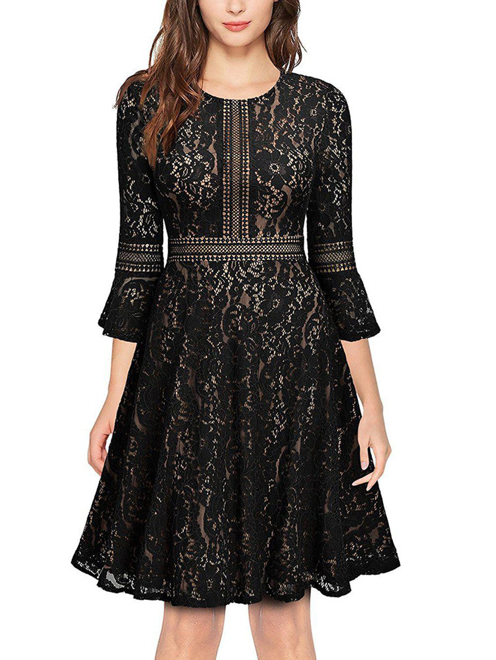 Hot Lace Half Sleeve Big Swing A-Line Dress