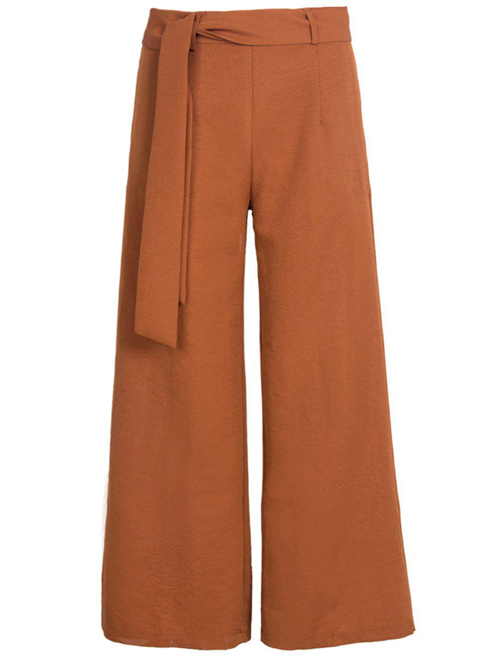 Affordable Womens Belted High Waist Casual Loose Long Pants with Pocket