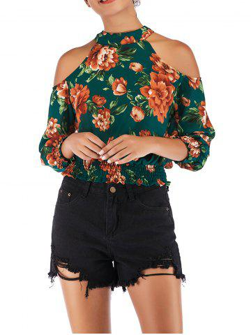 Womens Floral Print Cut Out Shoulder 3/4 Sleeve Chiffon T Shirt Tops Blouse