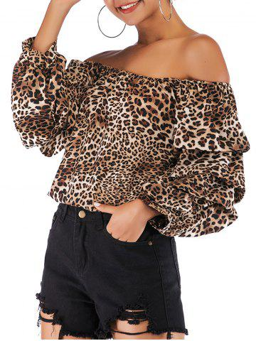 Women Leopard print Floral Print Long Sleeve Chiffon Shirt Blouse Tops